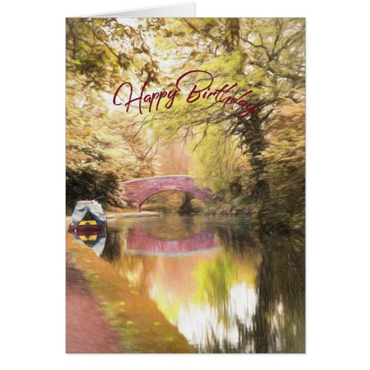 English Canalside Stroll Birthday Card