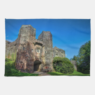 English Castle Entrance on a Summer's Day Tea Towel