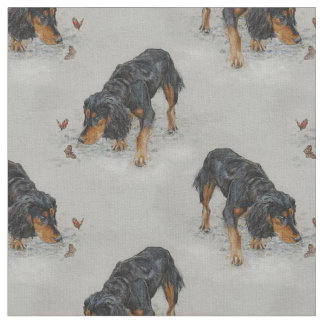 English Cocker Spaniel and butterflies art. Fabric