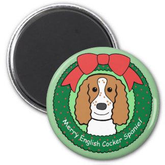 English Cocker Spaniel Christmas 6 Cm Round Magnet