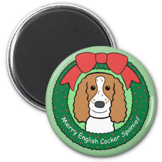 English Cocker Spaniel Christmas 6 Cm Round Magnet