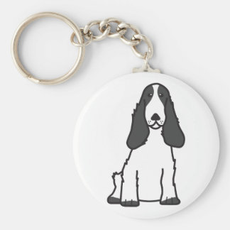 English Cocker Spaniel Dog Cartoon Basic Round Button Key Ring