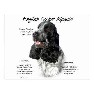 English Cocker Spaniel (parti) History Design Postcard