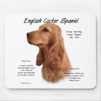 English Cocker Spaniel (red) History Design Mouse Mat