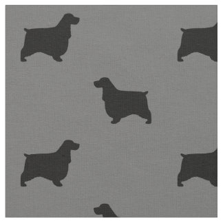 English Cocker Spaniel Silhouettes Pattern Fabric