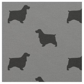 English Cocker Spaniel Silhouettes Pattern Fabric
