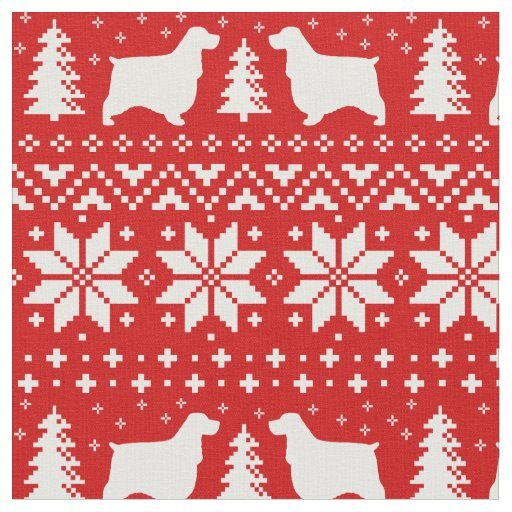 English Cocker Spaniels Christmas Pattern Red Fabric