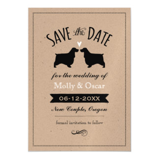 English Cocker Spaniels Wedding Save the Date Magnetic Card