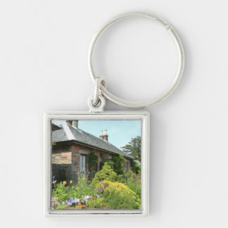 English Cottage II with Flower Garden Photography Silver-Colored Square Key Ring