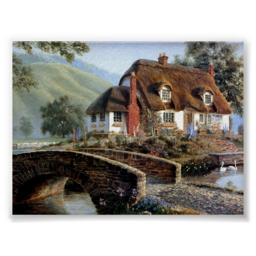 English Cottage in the countryside. Poster