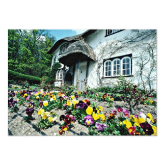 English cottage, pansies  flowers 13 cm x 18 cm invitation card