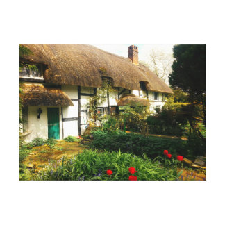 english cottage thatched and country garden canvas stretched canvas print