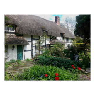english cottage thatched roof and garden 1 poster