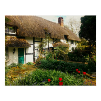 english cottage thatched roof and garden 2 poster