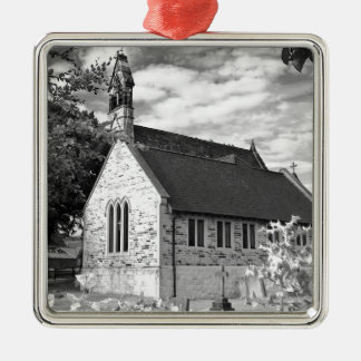 English Country church Silver-Colored Square Decoration