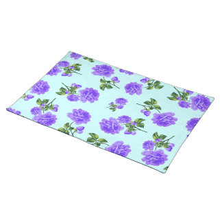 English country roses purple & blue cloth placemat