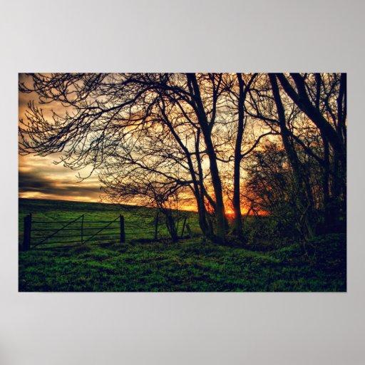 English Countryside Sunset HDR art poster print