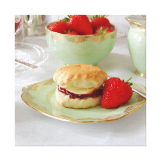 English Cream Tea Wrapped Canvas