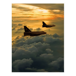 English Electric Lightning sunset flight Postcard