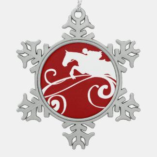 English Equestrian Flourish Snowflake Pewter Christmas Ornament