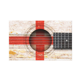 English Flag on Old Acoustic Guitar Stretched Canvas Print