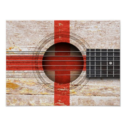 English Flag on Old Acoustic Guitar Print