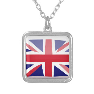 English flag silver plated necklace