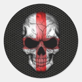 English Flag Skull on Steel Mesh Graphic Round Sticker