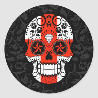 English Flag Sugar Skull with Roses Classic Round Sticker