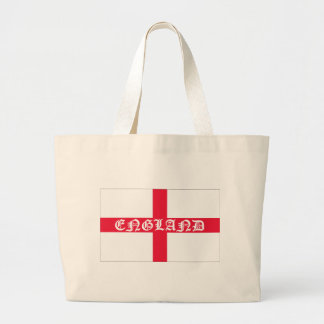 English Flag White Text Large Tote Bag