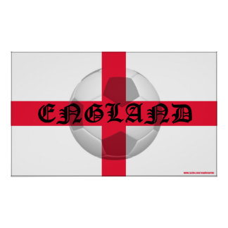 English Flag with England text and Football Poster