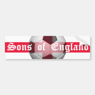 """English Flag with """"Sons of England"""" and Football Bumper Sticker"""