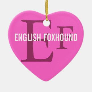 English Foxhound Breed Monogram Ornament