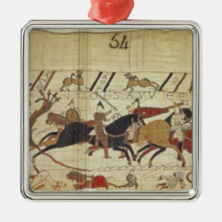English & French soldiers fall side by side Silver-Colored Square Decoration