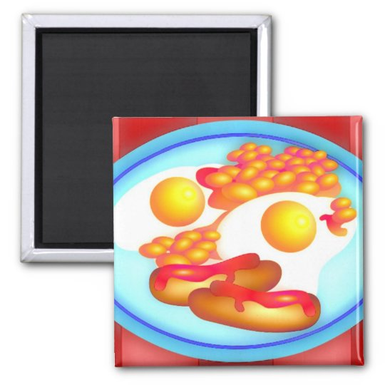 English Fry-up Square Magnet