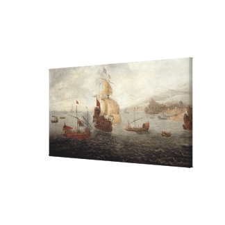 English Galley Frigate Flanked by Ottoman State Ba Canvas Print