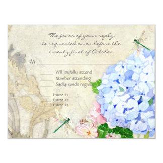 English Garden, Blue n Pink Hydrangeas Watercolor 11 Cm X 14 Cm Invitation Card