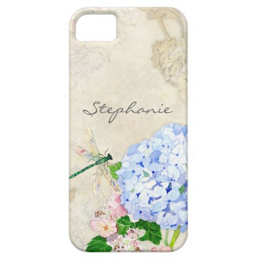 English Garden, Blue n Pink Hydrangeas Watercolor iPhone 5 Covers