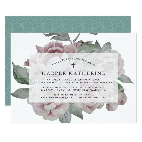 English Garden Christening or Baptism Invitation
