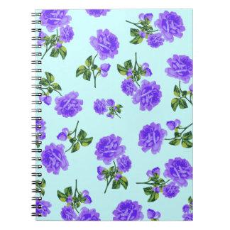 English Garden Purple floral blue notebook