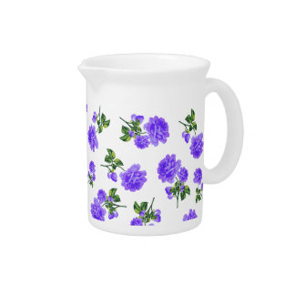 English garden purple flowers jug pitcher