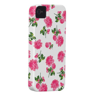 English garden purple roses iphone 4 case - white