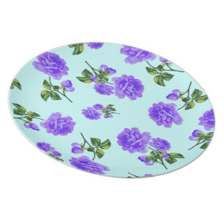 English garden purple roses plate - blue