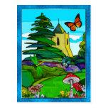 English Garden Whimsical Folk Art Post Cards
