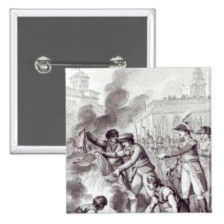 English goods burnt in Amsterdam 15 Cm Square Badge