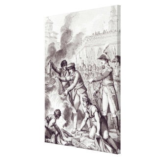 English goods burnt in Amsterdam Canvas Print