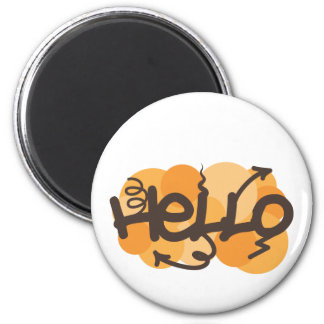 English Hello graffiti 6 Cm Round Magnet