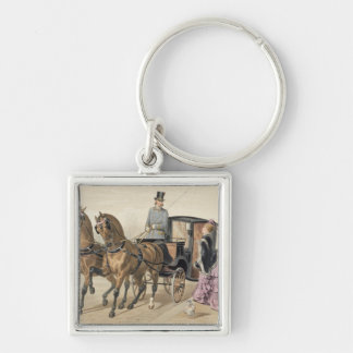 English Horses Silver-Colored Square Key Ring