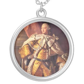 English King George III by Studio of Allan Ramsay Round Pendant Necklace