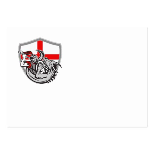 English Knight Fighting Dragon England Flag Shield Business Cards